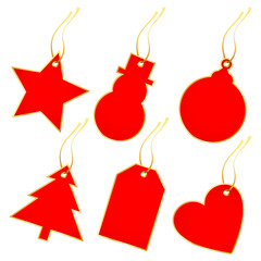 Collection 6 Christmas Hangtags Red/Gold