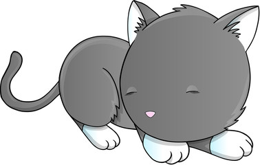 Sleeping Cat Kitten Vector Illustration Art