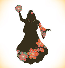 Dancing woman in retro traditional clothes