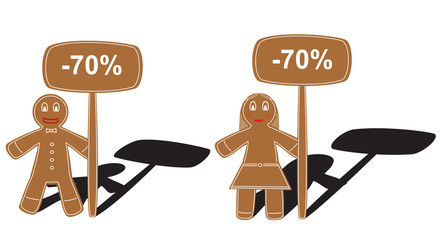 Gingerbread pair with table of -70 percent of discount