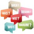 Sprechblasen Fragen Retro