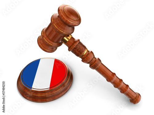 Wooden Mallet and French flag (clipping path included)