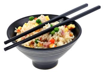 Bol de riz cantonnais et baguettes