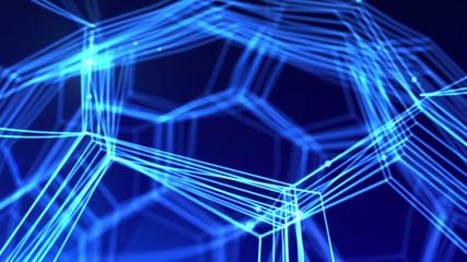 Fantasy Nanotechnology network. High technology 3d animation