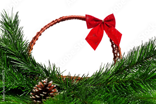 Christmas wicker basket
