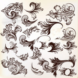 Collection of vector vintage decorative swirls for design