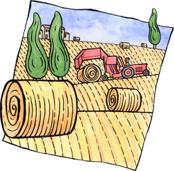 Scenery with hay bales and a tractor
