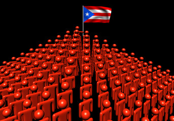 Pyramid of abstract people with Puerto Rico flag illustration