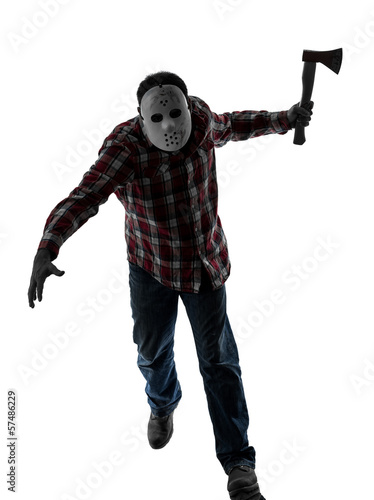man serial killer with mask silhouette full length