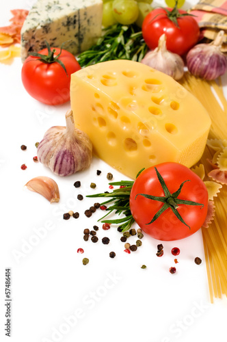 vegetarian food : ingredients for italian pasta
