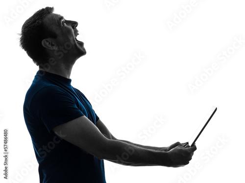 man holding digital tablet  laughing portrait