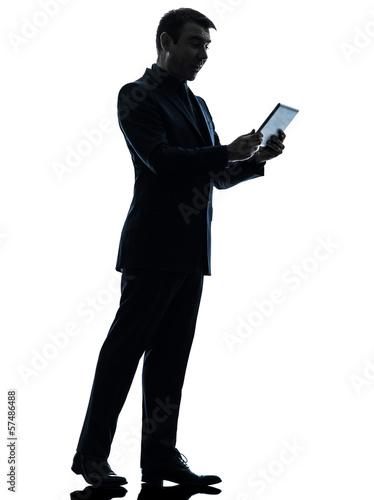 business man  surprised digital tablet  silhouette