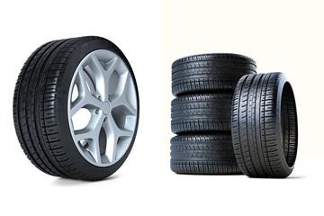 Stapel Reifen Reifen mit Felge