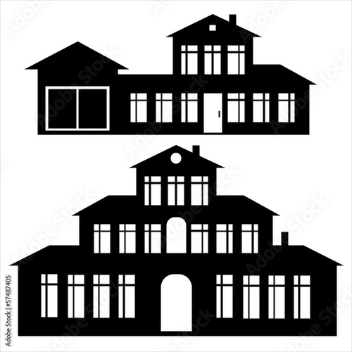 classic house icon set isolated on white background