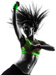 canvas print picture - woman exercising fitness zumba dancing silhouette