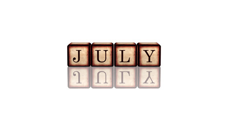 july in 3d wooden cubes
