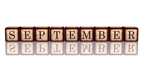 september in 3d wooden cubes