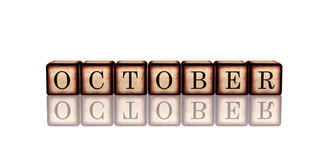 october in 3d wooden cubes
