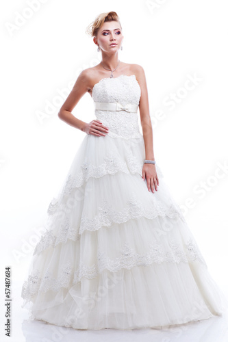 full-length portrait of bride. isolated on white background