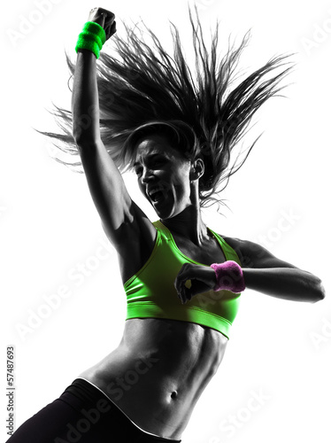 canvas print picture woman exercising fitness zumba dancing silhouette