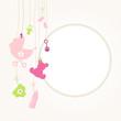 Hanging Baby Symbols Girl Retro Dots