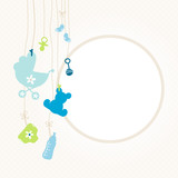 Hanging Baby Symbols Boy Retro Dots