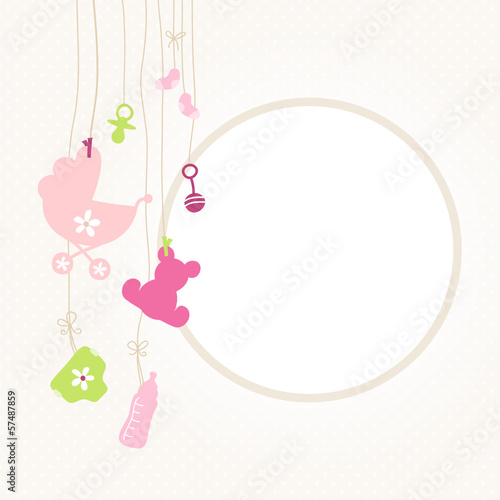 Hanging Baby Symbols Girl Retro Dots
