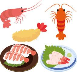 エビとエビの刺身、寿司