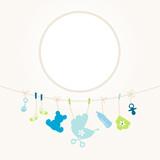 Hanging Baby Symbols Boy Frame Retro Dots