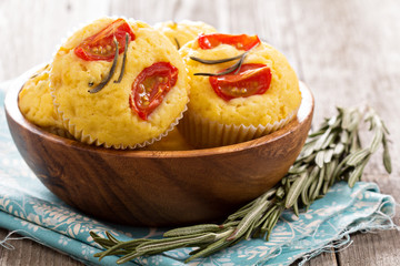 Savory muffins with corn flour, tomatoes and rosemary