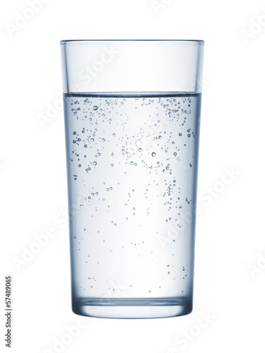 glass of mineral water on white background