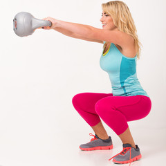 Beautiful blonde exercising
