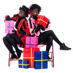 Portrait of Zwarte Piet with presents