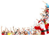 Christmas people group and Santa Claus