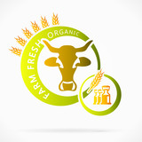 Organic cow milk, farm fresh abstract logo illustration