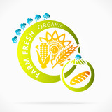 Organic grains, farm fresh abstract logo illustration