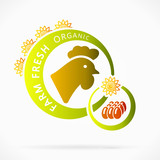 Organic chicken eggs, farm fresh abstract logo illustration