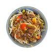 Beef noodles and vegetables in a large bowl