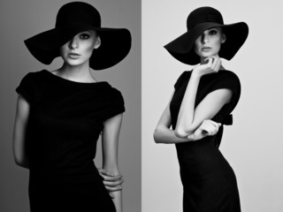 Black and white collage of elegant woman