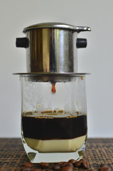 Dripping Coffee with condense milk