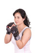 hispanic aggressive woman with boxing gloves