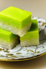 Malay Traditional Dessert - Seri Muka on a fancy plate