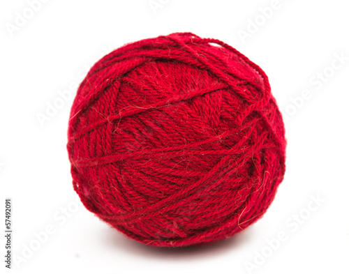 tangle of red thread isolated