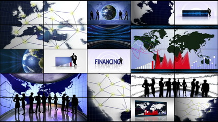 Business Montage in Monitors and Financing Center Text