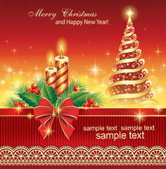 christmas greeting card with fir tree and candle