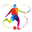 soccer player with colored dots