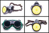 Protective workwear glasses and dust mask poster