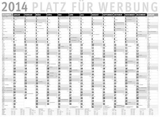 Kalender 2014 s/w (Dezember 2013 bis Januar 2015) mit Ferien