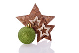 wooden star decoration with christmas  ball ornament