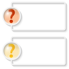two white abstract text frame with question mark